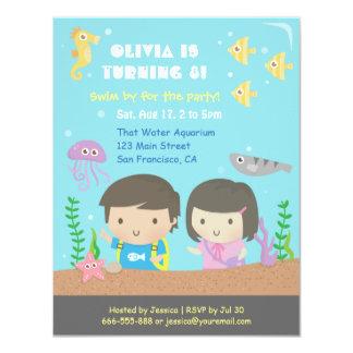 "Cute Underwater Aquarium Kids Birthday Party 4.25"" X 5.5"" Invitation Card"