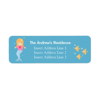 Cute Underwater Little Mermaid RSVP Address Label
