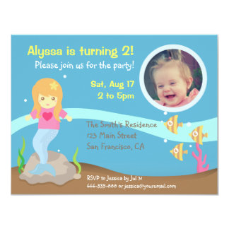 Cute Underwater Mermaid Girl Birthday Party Photo 4.25x5.5 Paper Invitation Card