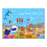 Cute Underwater World Pool Party 5x7 Paper Invitation Card