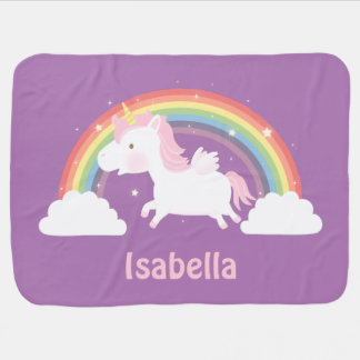 Cute Unicorn and Rainbow Baby Girls Blanket