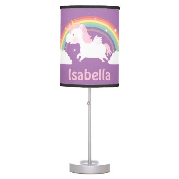 RustyDoodle Cute Unicorn and Rainbow Girls Room Decor Table Lamp