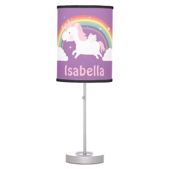 Cute Unicorn And Rainbow Girls Room Decor Table Lamp