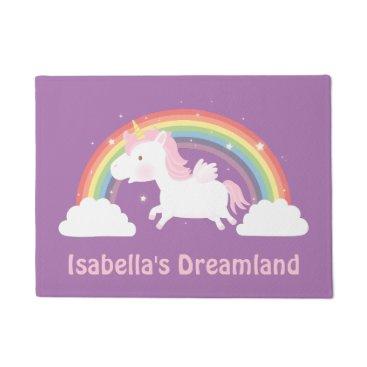 RustyDoodle Cute Unicorn and Rainbow Girls Room Door Mat