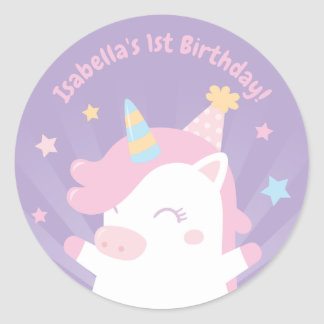 Cute Unicorn and Stars Girls Birthday Stickers