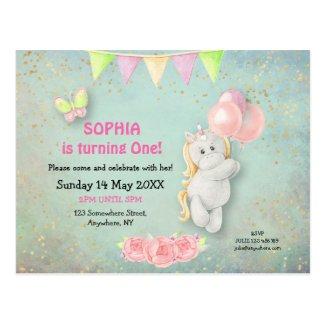 Cute Unicorn/Balloons First Birthday Invitation Postcard