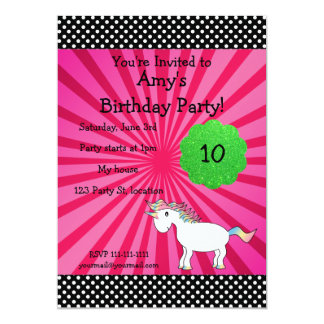 "Cute unicorn birthday invitation 5"" x 7"" invitation card"