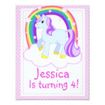 "Cute Unicorn Birthday Party Invitation 4.25"" X 5.5"" Invitation Card"