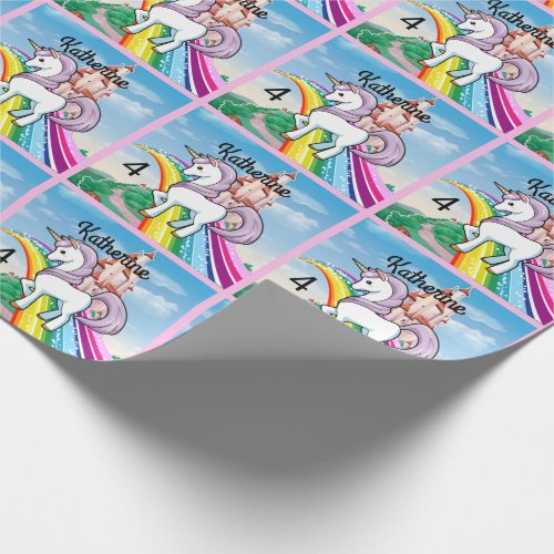 Cute UNICORN Birthday Personalize Girl's Name Age Wrapping Paper