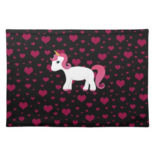 Cute unicorn black pink hearts place mats