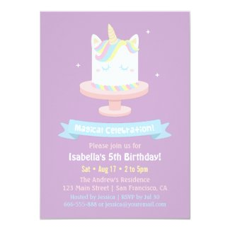 Unicorn birthday party invitations tropical papers cute unicorn cake girls birthday party invitations filmwisefo