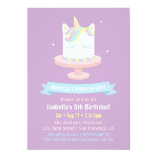 Birthday cake invitations announcements zazzle cute unicorn cake girls birthday party invitations filmwisefo