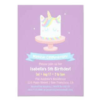 Cute Unicorn Cake Girls Birthday Party Invitations