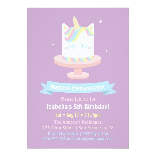cute unicorn cake girls birthday party invitations zazzle com