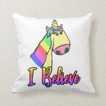 Cute Unicorn Cartoon Motto Throw Pillow