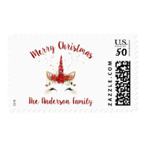 Cute Unicorn Christmas Holiday Invitation Postage