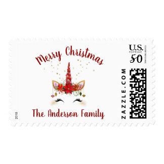 Cute Unicorn Christmas Holiday Invitation Postage