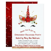 Cute Unicorn Christmas Ornament Exchange Party Invitation