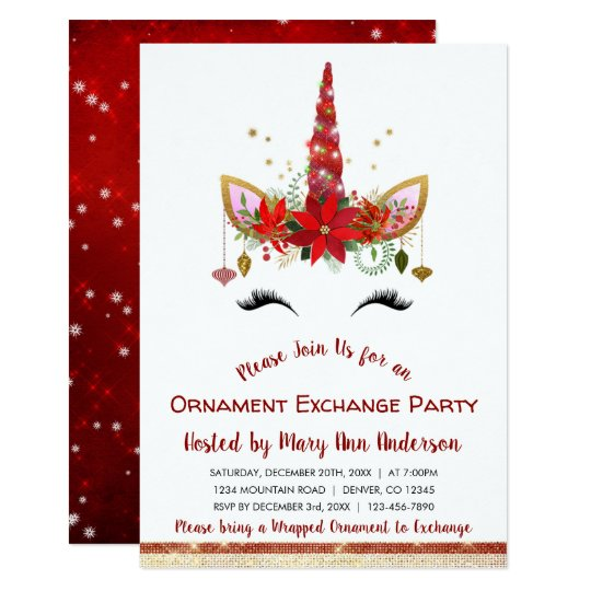 cute unicorn christmas ornament exchange party invitation zazzle com