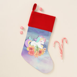 Cute Unicorn Colorful Hair on Flowers Watercolor Christmas Stocking