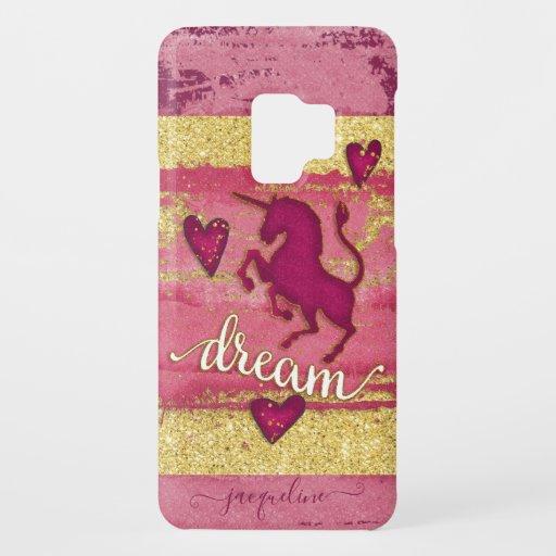 Cute Unicorn Colorful Magenta Pink Gold Name Case-Mate Samsung Galaxy S9 Case