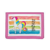 Cute Unicorn Colorful Stripes Trifold Wallet