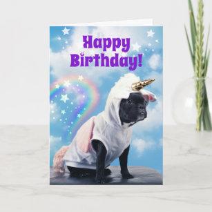 Cute Unicorn Dog Farting Rainbows Teen Birthday Card