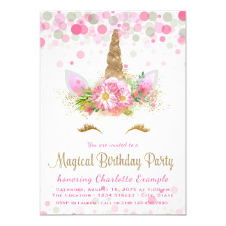 Cute Unicorn Face Birthday Party Invitations