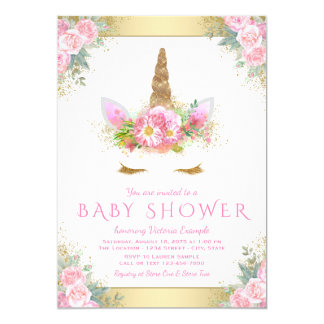 Cute Unicorn Face Pink Gold Baby Shower Invitation