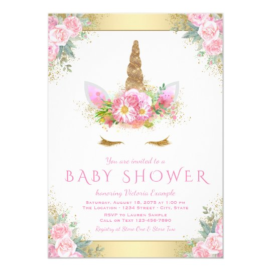 Cute unicorn face pink gold baby shower invitation zazzle cute unicorn face pink gold baby shower invitation filmwisefo