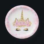 "Cute Unicorn Face Pink Gold Paper Plates<br><div class=""desc"">Unicorn paper plates with cute pink and gold unicorn face with elegant gold horn ears and eyes wearing a pastel pink rose crown on a beautiful pastel pink background. These cute unicorn paper plates can be personalized with text and you can add a background color.</div>"