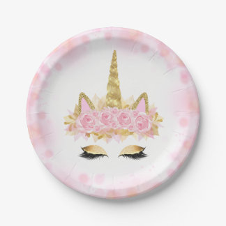 Cute Unicorn Face Pink Gold Paper Plates