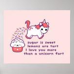Cute Unicorn Fart Poster