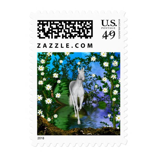 Cute Unicorn Flowers 1 Stamps
