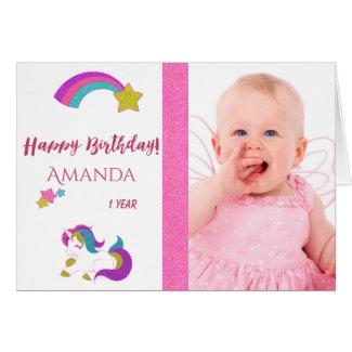 Cute unicorn happy 1st magical birthday with photo