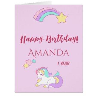 Cute unicorn happy magical 1st birthday pink