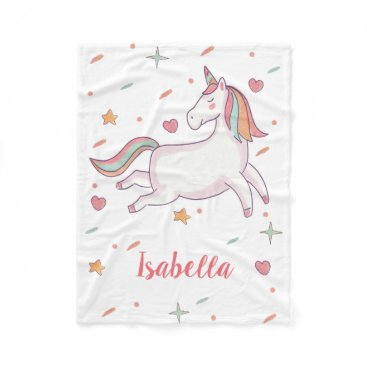 Valentines Themed Cute Unicorn Hearts and Stars Personalized Fleece Blanket