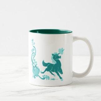 Cute Unicorn Hearts Flowers 2 - Customized Two-Tone Coffee Mug