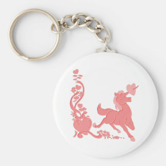 Cute Unicorn Hearts Flowers Fantasy 1 Basic Round Button Keychain