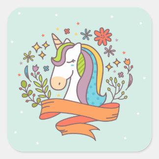 Cute Unicorn in Pretty Ice Cream Colors Square Sticker