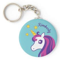 Cute unicorn keychain with custom girl's name