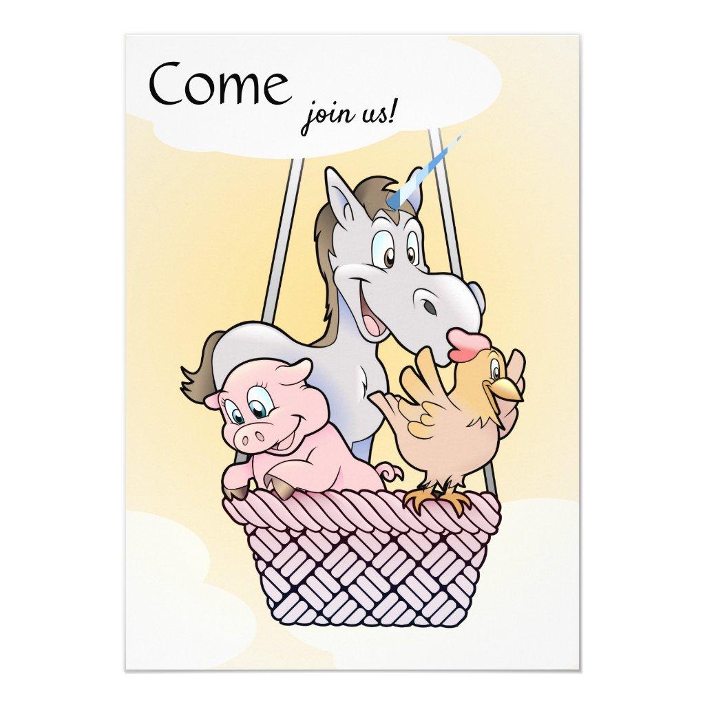 Cute Unicorn Kids Balloon Birthday Party Invite