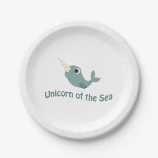 Cute Unicorn Of the Sea Paper Plate