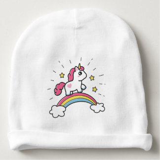 Cute Unicorn On A Rainbow Design Baby Beanie