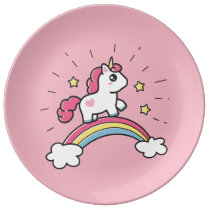 Cute Unicorn On A Rainbow Design Dinner Plate