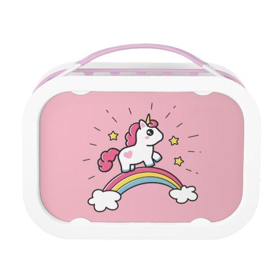 Cute Unicorn On A Rainbow Design Lunch Box