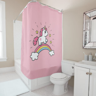 Cute Unicorn On A Rainbow Design Shower Curtain