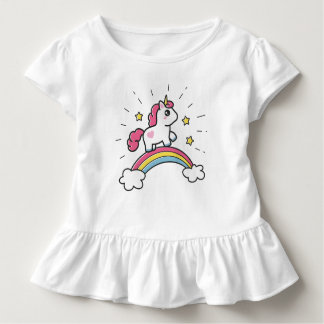Cute Unicorn On A Rainbow Design Toddler T-shirt