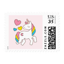 Cute Unicorn on Pink Background. Postage