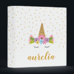 """Cute Unicorn Personalized Binder 